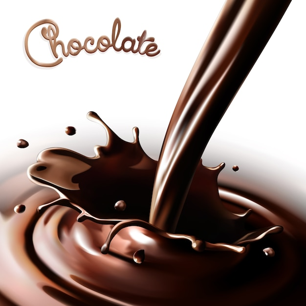 Realistic splash flowing chocolate or cocoa on a white background. isolated   design elements Premium Vector