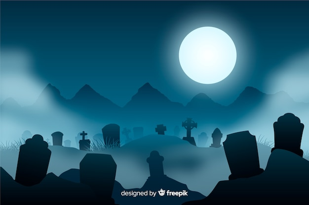 Realistic spooky halloween background Free Vector