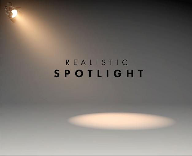 ステージが真っ白に光るリアルなスポットライト。スタジオ。照明効果フォームプロジェクター、スタジオ照明用プロジェクターのイラスト Premiumベクター