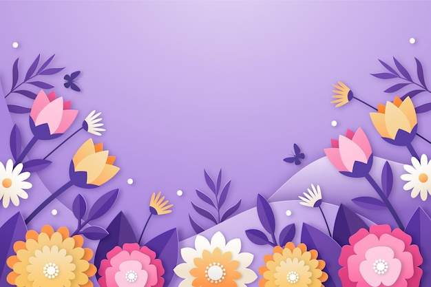 Realistic spring background in paper style Premium Vector