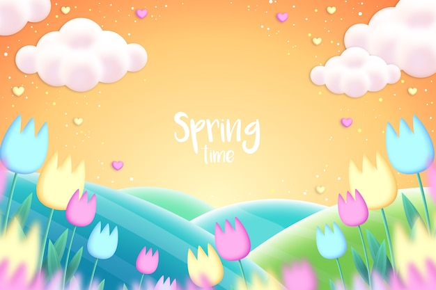 Realistic spring background with flowers Free Vector