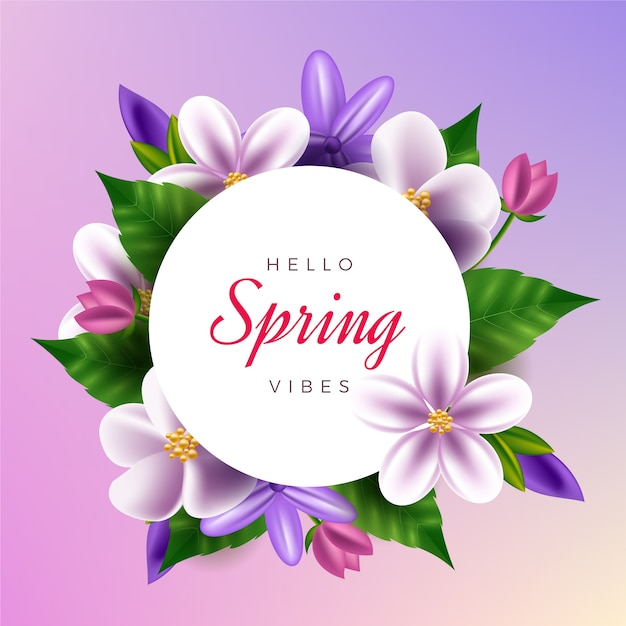 Realistic spring floral frame theme Free Vector