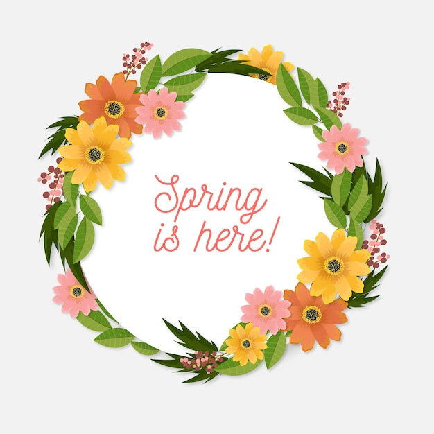 Realistic spring floral frame with wreath of flowers Free Vector