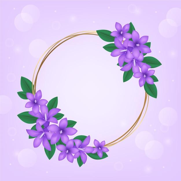 Cornice floreale primaverile realistica Vettore gratuito