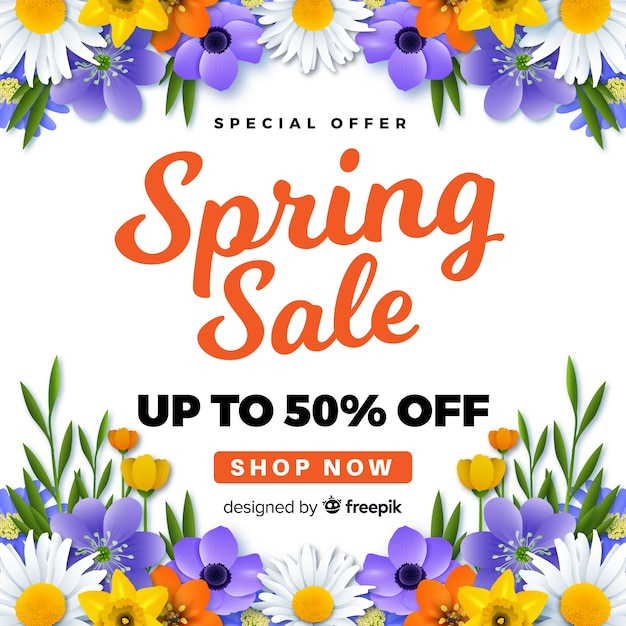 Realistic spring sale background Free Vector