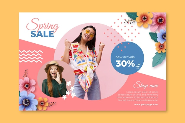 Realistic spring sale banner Free Vector