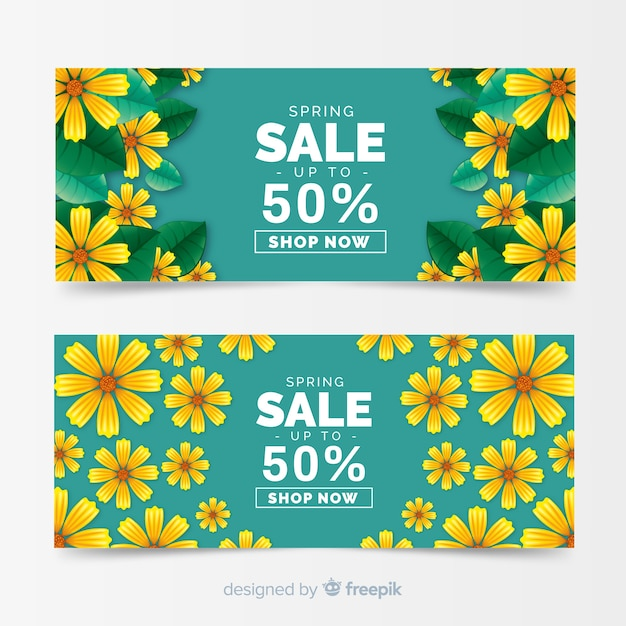 Realistic spring sale banners Free Vector