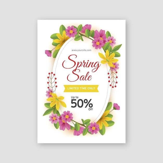 Modello di volantino vendita primavera realistica Vettore gratuito