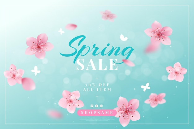 현실적인 봄 판매 그림 무료 벡터