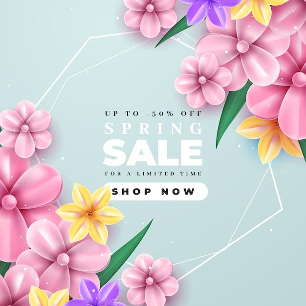 Realistica vendita primaverile con fioritura fiori rosa Vettore gratuito