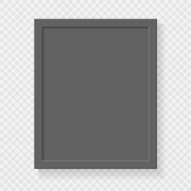 Realistic square empty picture frame on transparent background. Premium Vector