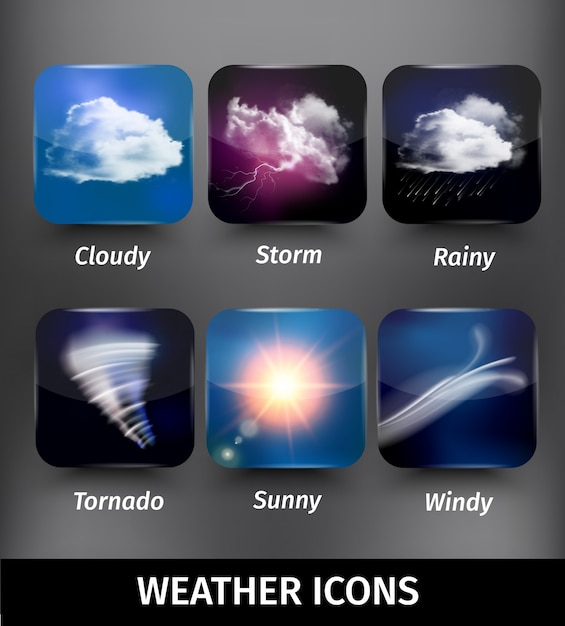 Realistic square weather icon set on cloudy storm rainy tornado sunny windy themes Free Vector