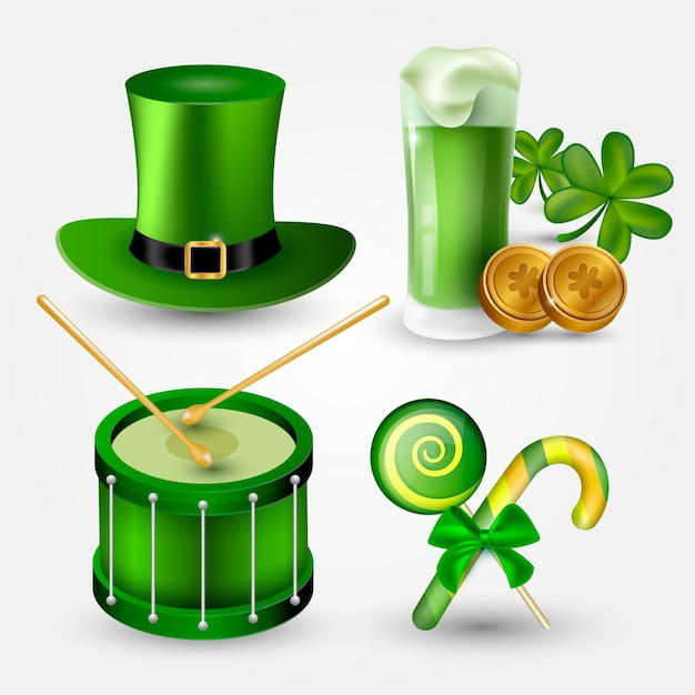 Realistic st. patrick's day elements collection Free Vector