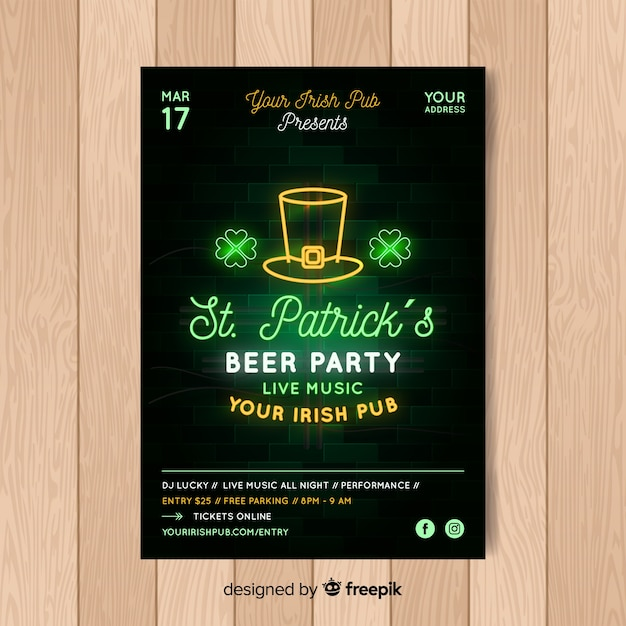 Realistic st. patrick's day flyer template Free Vector