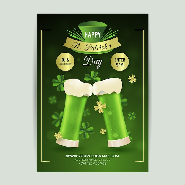 Realistic st. patricks day poster template Free Vector