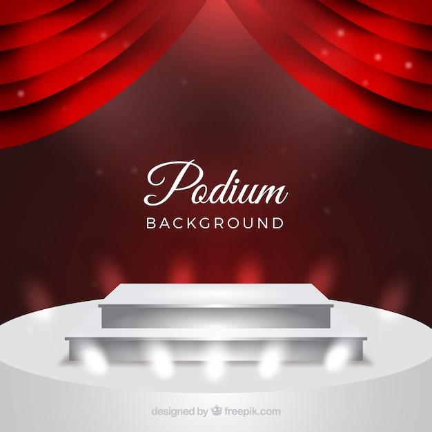 Realistic stage podium with elegant lightning Free Vector