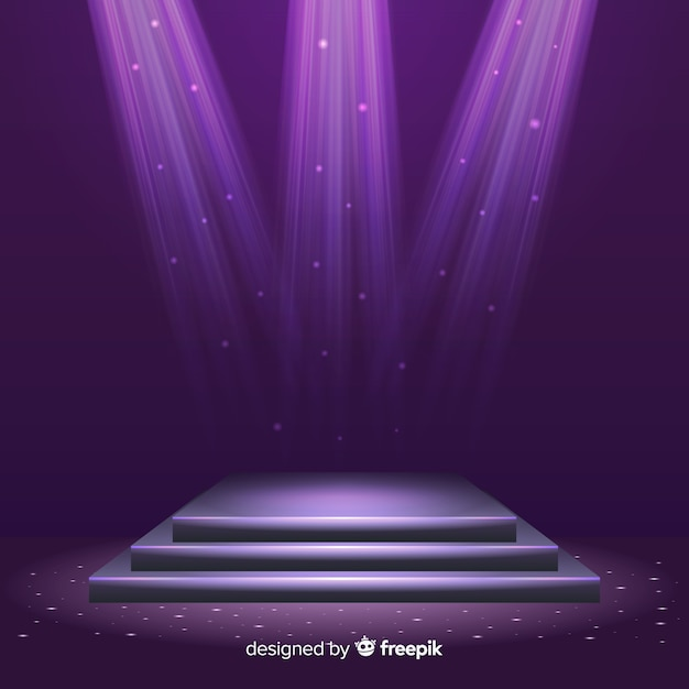 Realistic stage podium with elegant lightning Free Vector