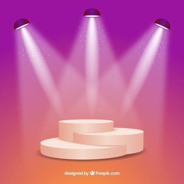 Realistic stage podium with elegant lightning Premium Vector