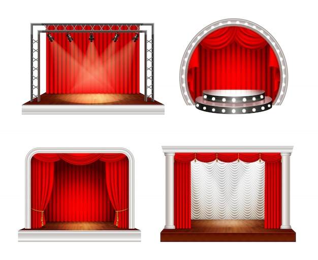 Realistic stages set with four images of empty space stage with red curtains and lighting equipment vector illustration Free Vector