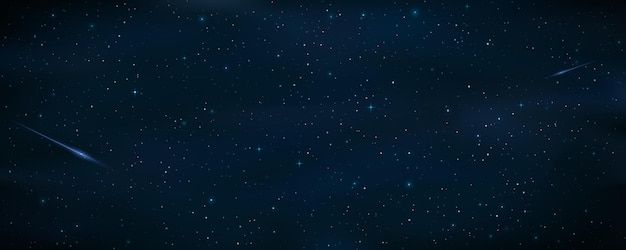 Realistic starry sky with a blue shooting star. meteor falling. shining stars in the night sky. galaxy objects. cosmic background or wallpaper for your design. Premium Vector