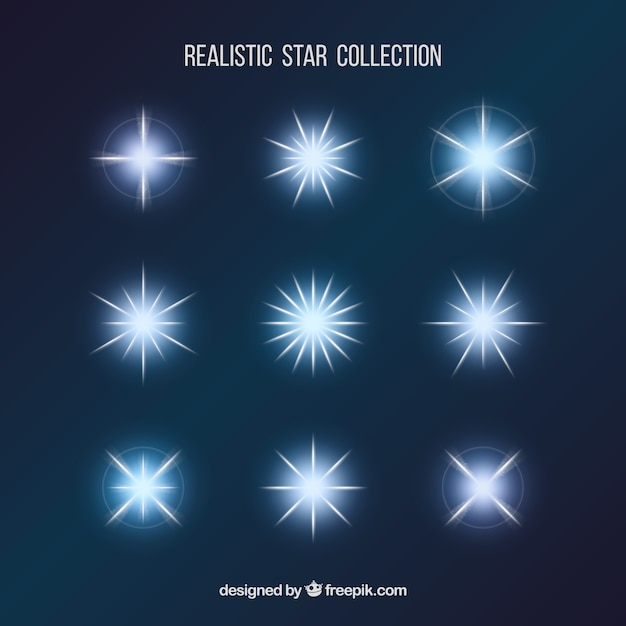Realistic stars collection  Free Vector