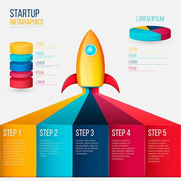 Realistic startup infographic Free Vector