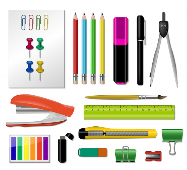 Realistic stationery icon set Free Vector