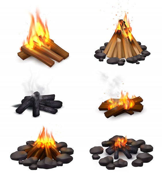 Realistic steaming campfire collection Free Vector