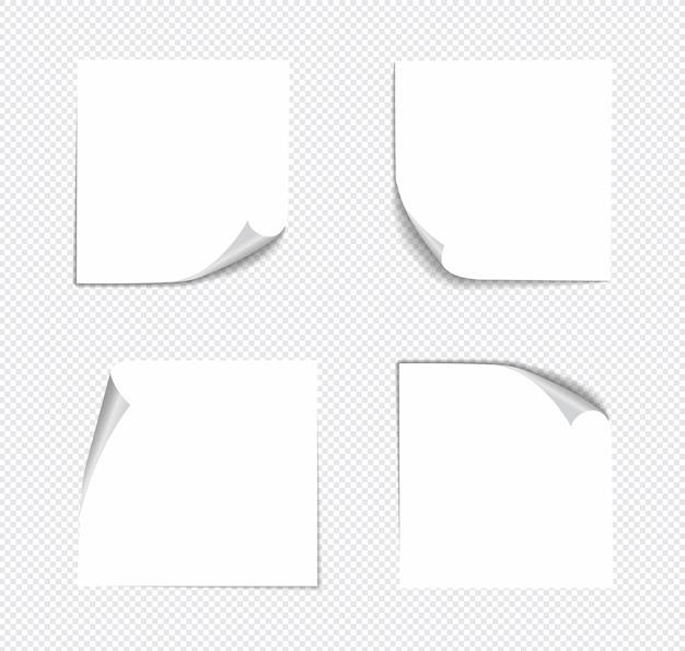 Реалистичные заметки, изолированные с реальной тенью. Premium векторы
