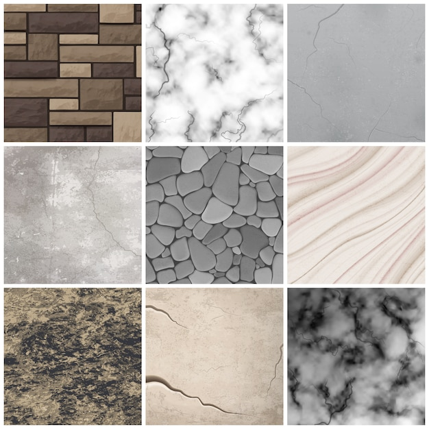 Realistic stone texture patterns collection Free Vector