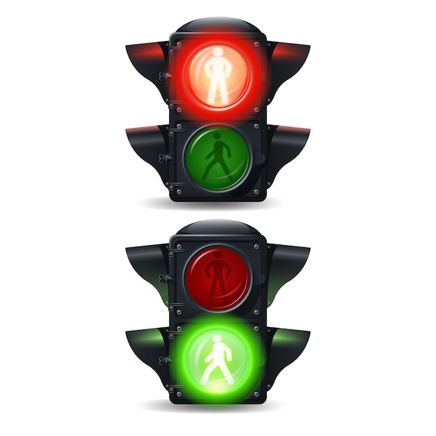 Realistic stop and go pedestrian traffic lights set Free Vector