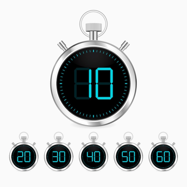 Realistic stopwatch vector clock chrome timer Premium Vector