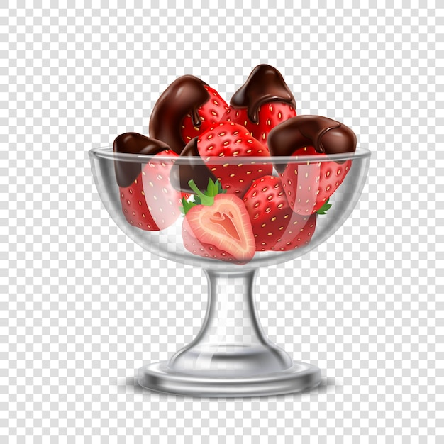 Realistic strawberry in chocolate composition Free Vector