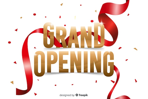 Realistic streamer grand opening background Free Vector