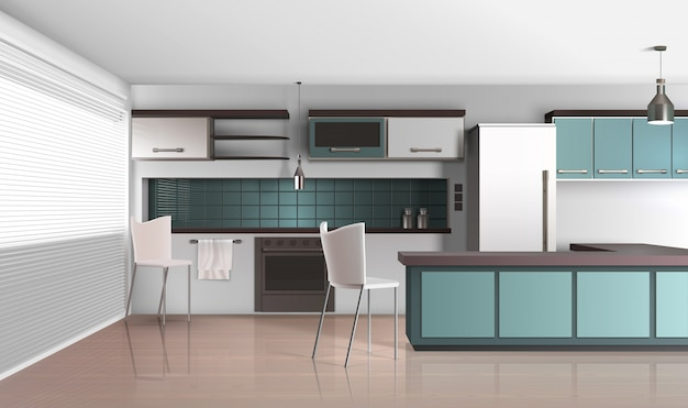 Realistic style apartment kitchen Free Vector