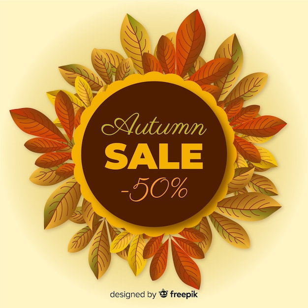 Realistic style autumn sale banner Free Vector