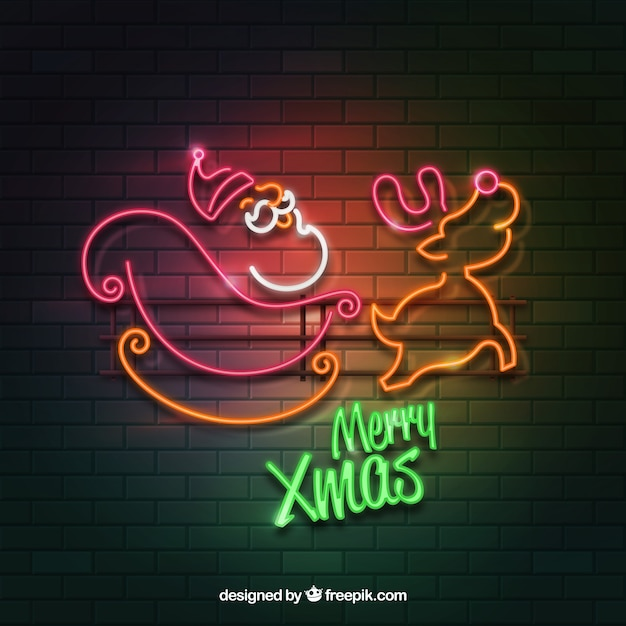 Realistic style background with christmas lights on a brick wall Free Vector