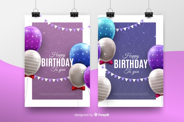 Realistic style birthday invitation template Free Vector