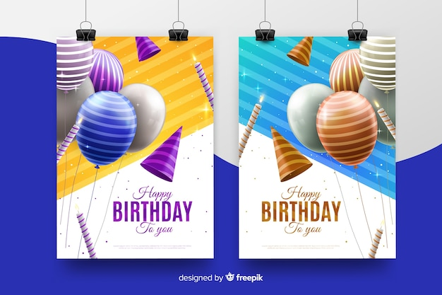 Realistic style birthday invitation template Free Vector