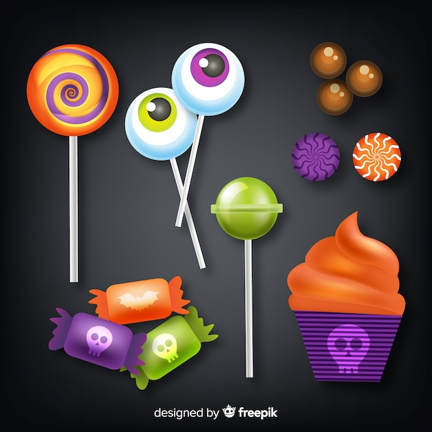 Realistic style halloween candy collection Free Vector