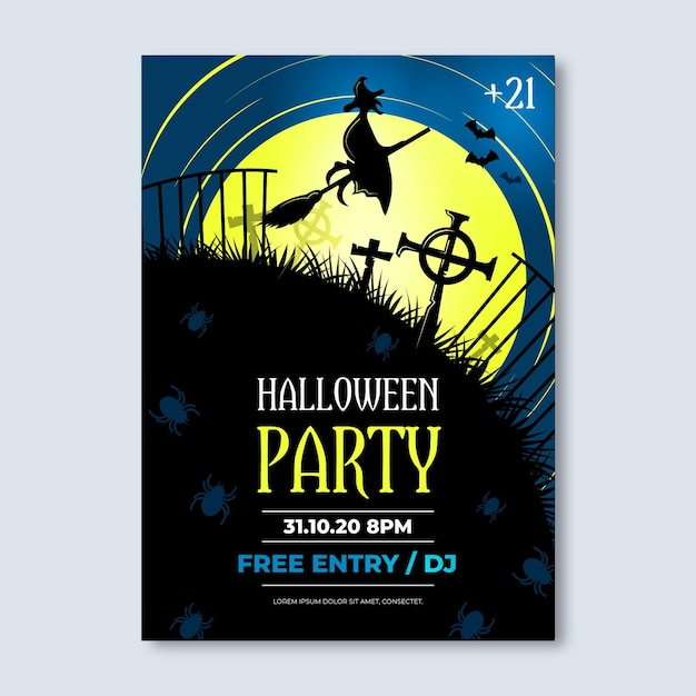 Реалистичный стиль хэллоуин плакат Бесплатные векторы