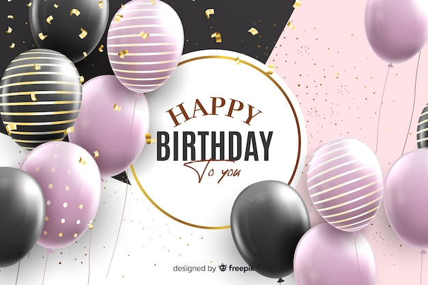 Realistic style happy birthday background Free Vector