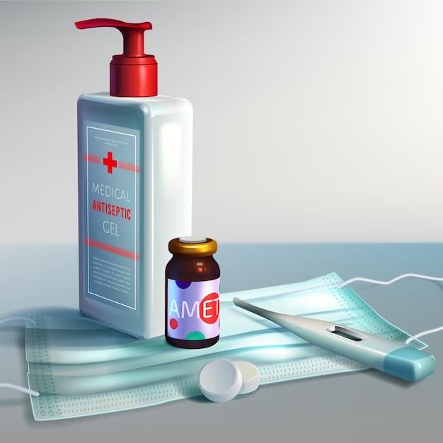 手の消毒剤の現実的なスタイル 無料ベクター