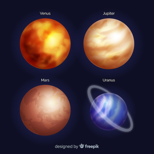 Realistic style planets collection Free Vector