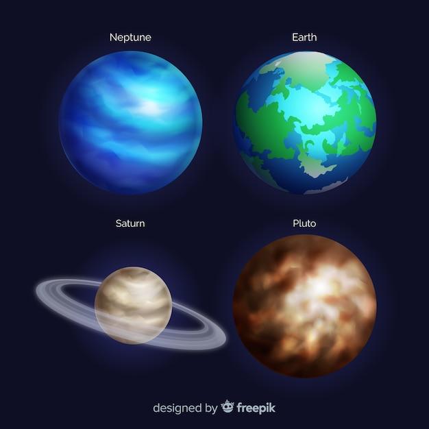 Collezione di pianeti in stile realistico Vettore gratuito