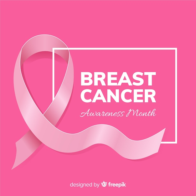Realistic style ribbon for breast cancer awareness event Free Vector