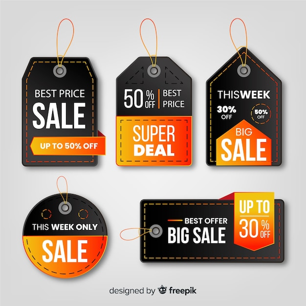 Realistic style sales label collection Free Vector