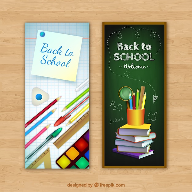 Realistic style school elements banners