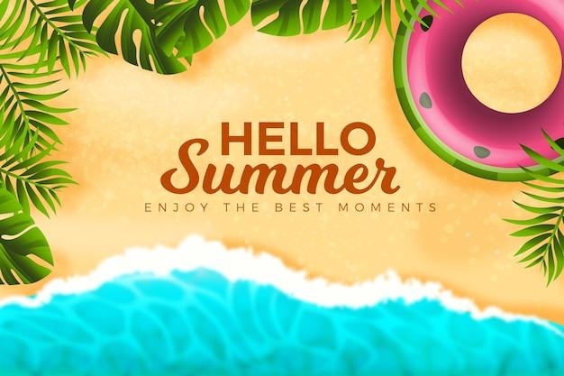 現実的な夏の背景コンセプト Premiumベクター