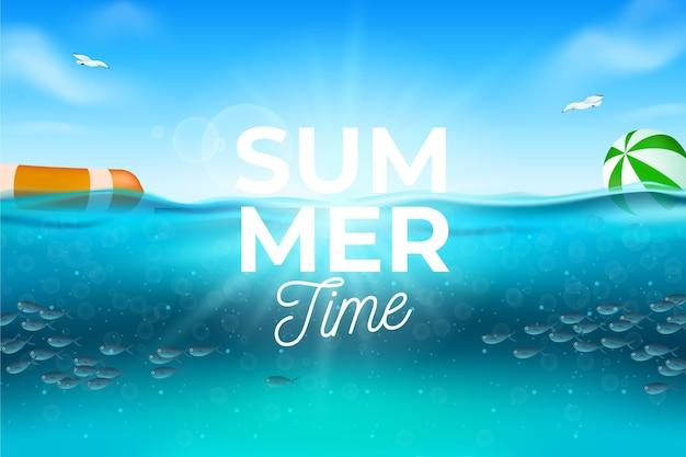 Реалистичная летний фон с пляжем Бесплатные векторы